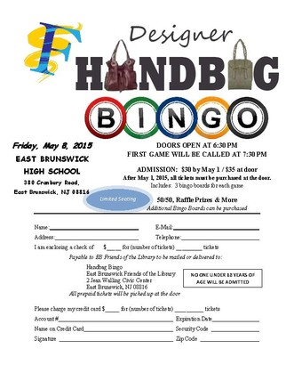 Designer Handbag Bingo Tickets